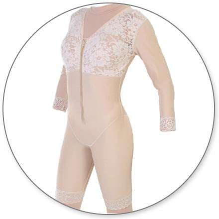 Style 27S - Mid Thigh Body Shaper with Sleeves by Contour