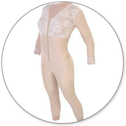 Style 28S - Mid Calf Body Shaper with Sleeves by Contour