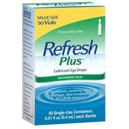 Refresh Plus Lubricant Eye Drops Single-Use Vials, 50 Count
