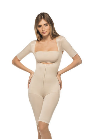 One Piece Above The Knee Full Body Girdle With Sleeves- Annette Renolife-Style IC-3008