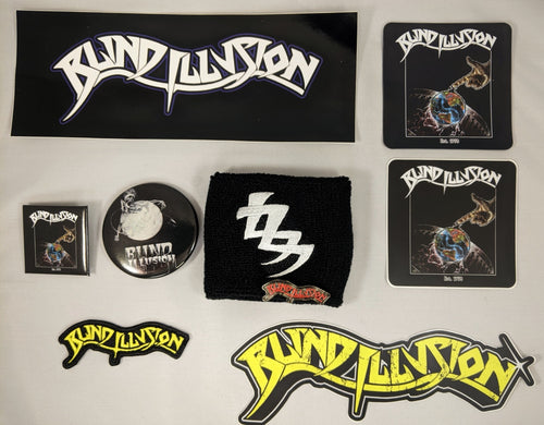 Blind Illusion Bundle with Wristband + Sticker Pack + Pin Pack + Patch