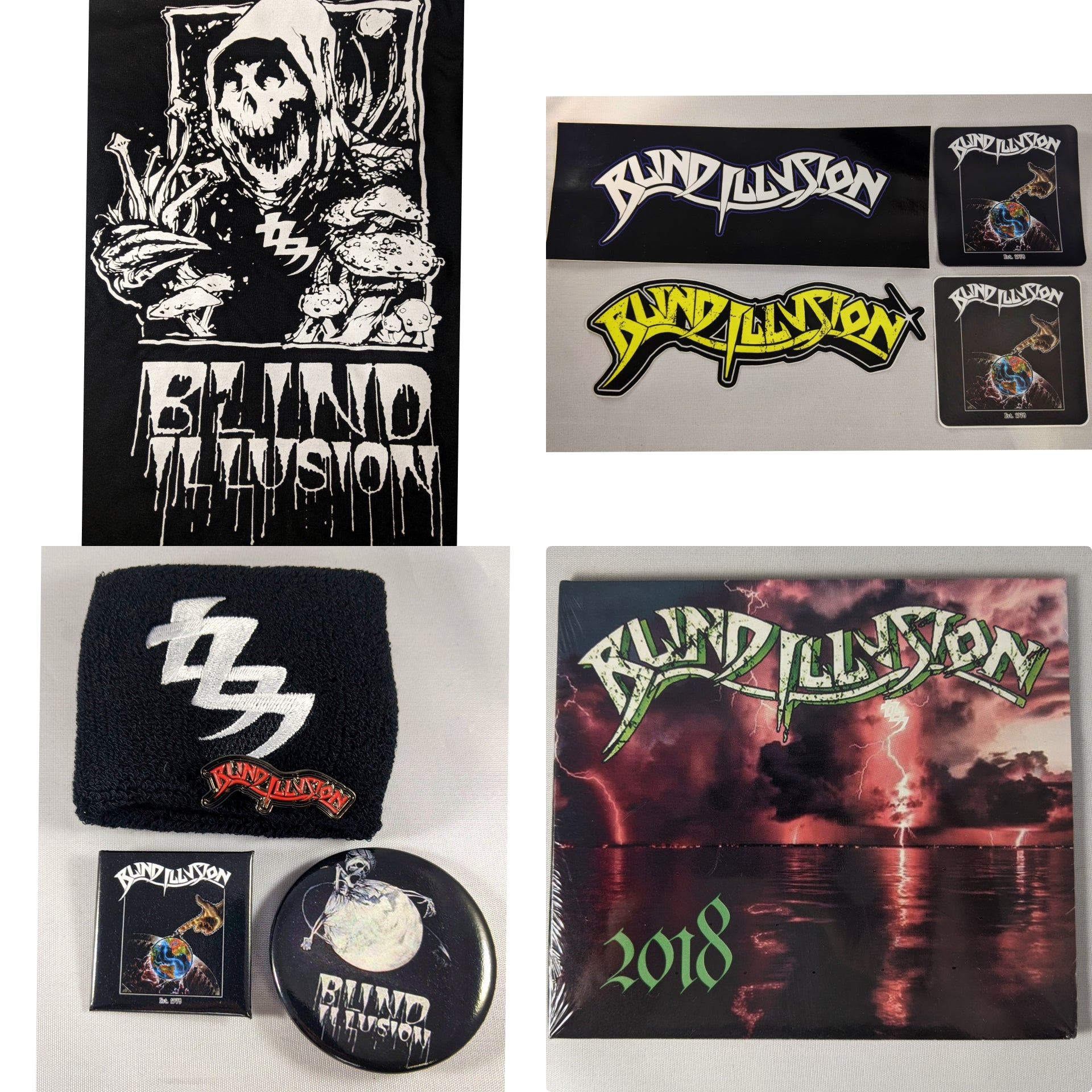 Blind Illusion Bundle with Cry for the Banshee Shirt + 2018 EP + sticker + Pin + wristband