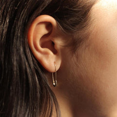 Gold Minimal Safety Pin Earring