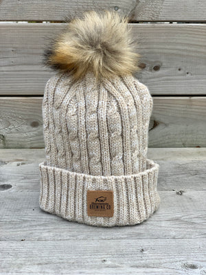 Cable Knit Toque with Faux Fur Pom Pom