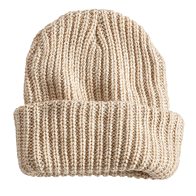 Chunky Knit Hat with Leather Patch