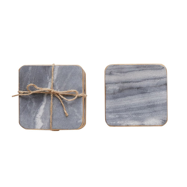 "4"" Square Marble Coasters S/4"