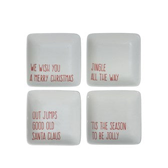 Stoneware Dish w/ Holiday Song, 4 Styles