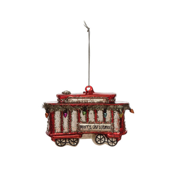 "Hand-Painted Glass Trolley Ornament, Red ""Merry Christmas"""