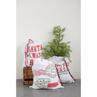 Cotton Holiday Sacks, 3 styles