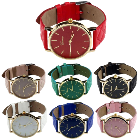 Checkers Casual Leather Fashion Watch