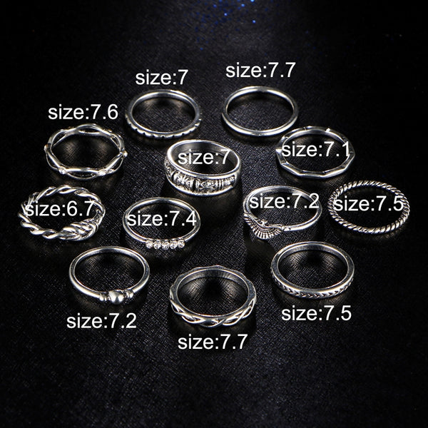 Casual Rings-Vintage Charm 12 Ring Set