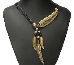 Vintage Pendant Necklace with Rhinestone and Feathers