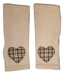 GLOVES - TAN PLAID HEART