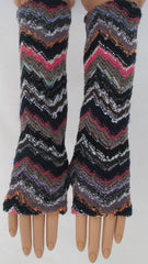 ITALIAN KNIT - BLACK/PINK ARM WARMERS