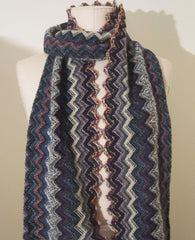 Italian Knit - Teal/Purple Zig-Zag Scarf
