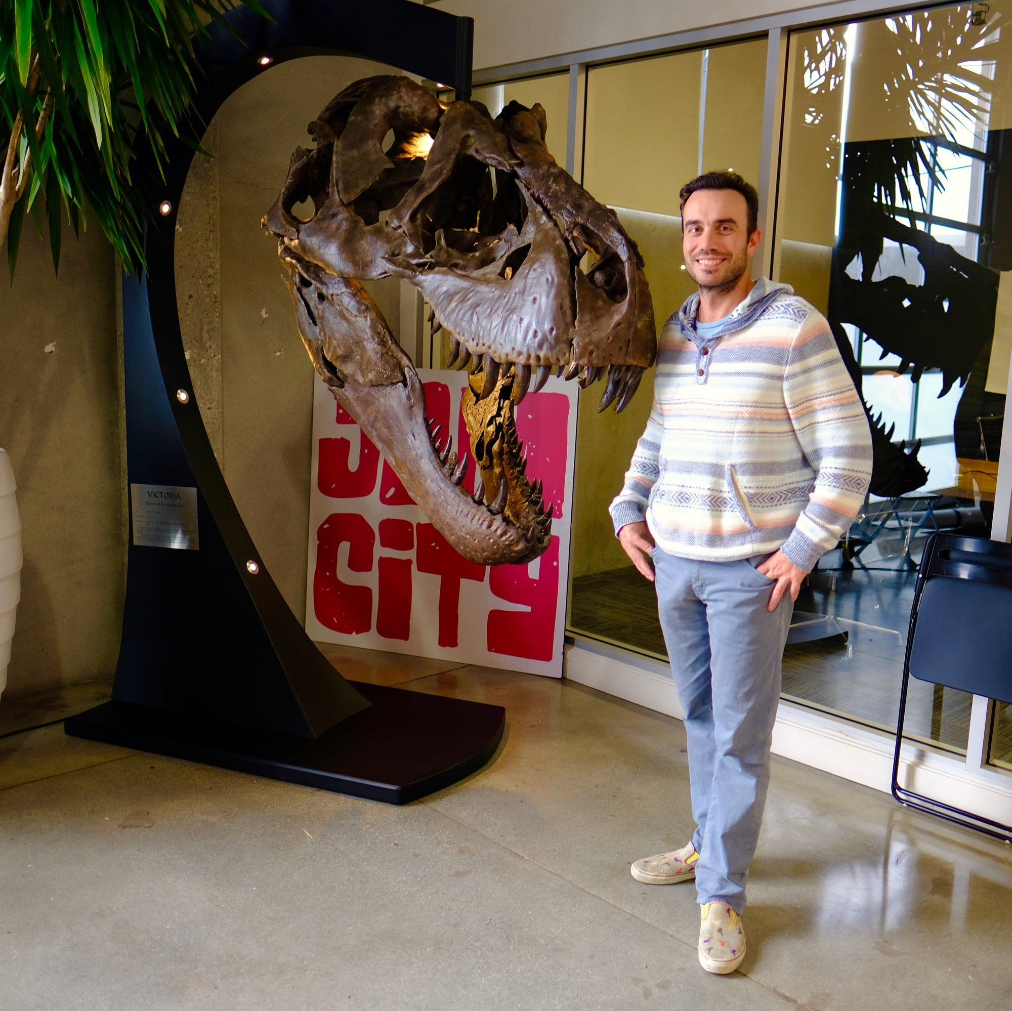 Tyrannosaurus rex - skull cast  One of our guests posing with the first cast of the skull of Victoria, a famous T.rex. The skull was 3D printed from original scans taken by the world expert in digitizing dinosaur bones.
