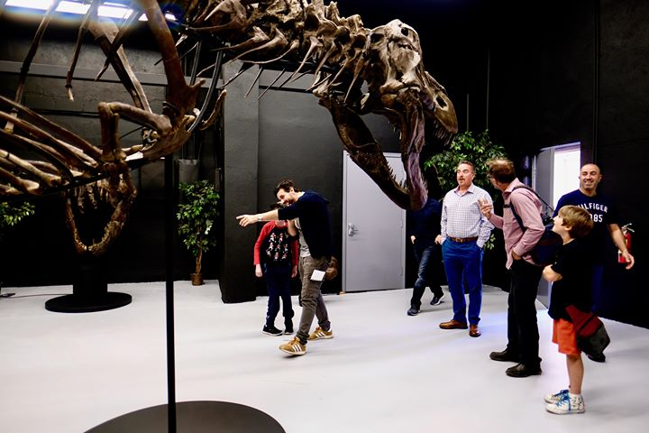 Tyrannosaurus rex - skeleton  VIPs from the Help Fill A Dream Foundation meet Victoria the T.rex.    (approx. 65 million years old)