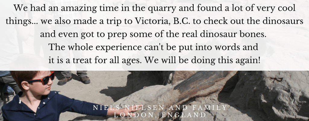Did you know that we book private dig experiences? Oh yes, we do! Put on your explorer hat and accompany us on a global trip to dig for fossils.Testimonial.