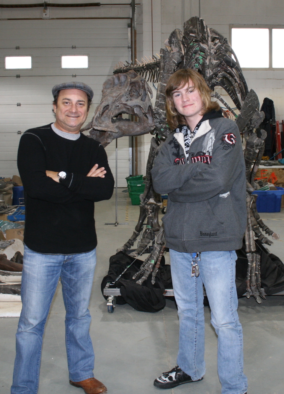 Maiasaura peeblesorum  Kevin Pollak, a big dinosaur lover, came for a tour of our formerly private lab. In the background is a duckbill dinosaur, Maiasaura.      (approx. 70 million years old)