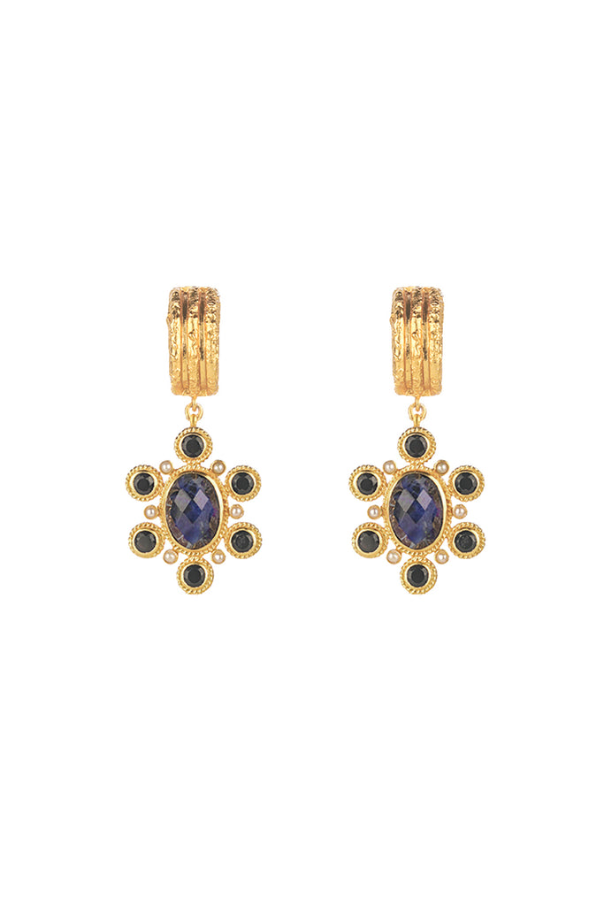 VALERE - Mini Mademoiselle Earrings - Sodalite, Black Onyx & Pearl