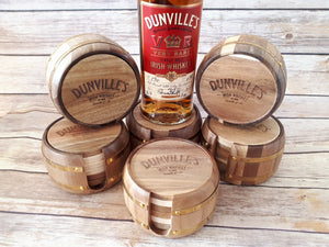 Dunville's Wooden barrel coasters