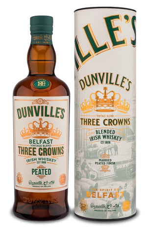 Dunvilles Three Crowns Peated 70cl Blended Irish Whiskey 43.5% ABV