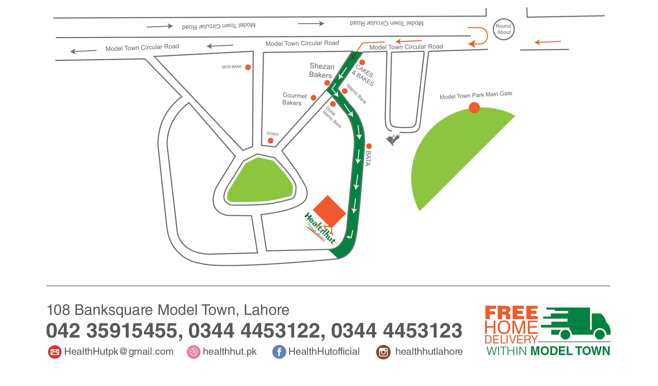 Health Hut Location - Model Town Lahorre
