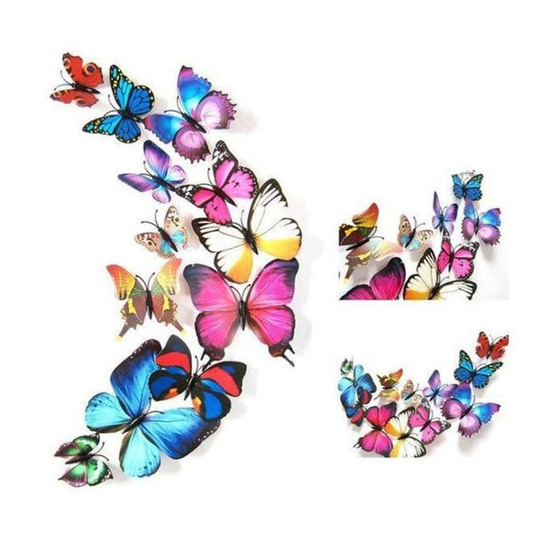 Stickers 3D Papillons (lot de 12 papillons)-La Boutique des WC
