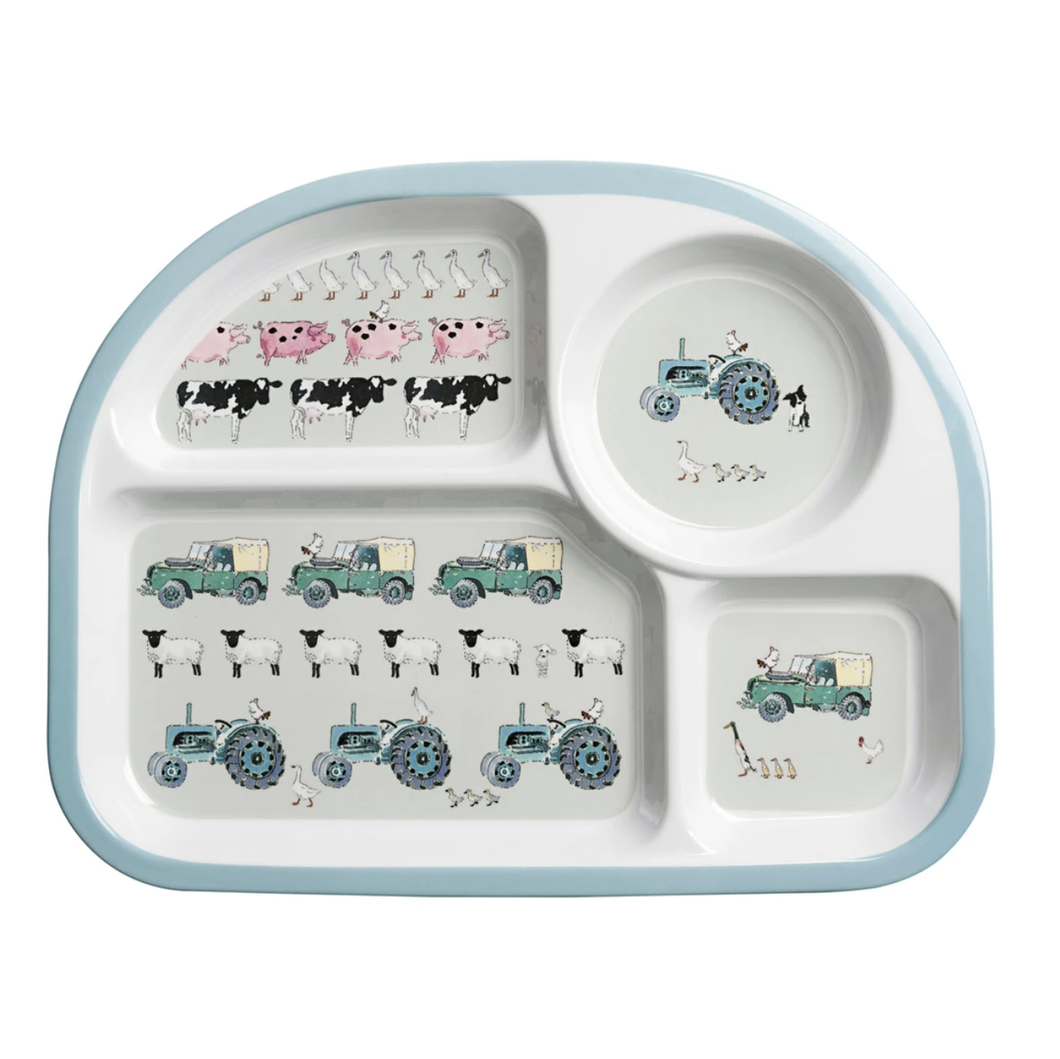 Sophie Allport | Mealtime Melamine Divider Plate | On The Farm