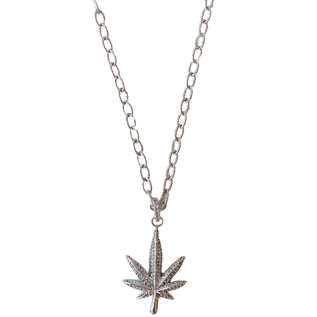 Janis Savitt | Small Leaf Crystal Necklace | Silver - FrankShopWP