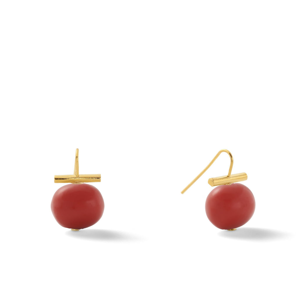 Catherine Canino | Medium Pebble Pearl Earring | Oxblood + Gold
