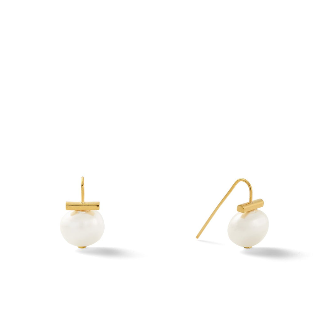 Catherine Canino | Baby Pebble Pearl Earring | White + Gold