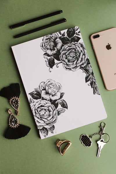 black and white floral paperback journal