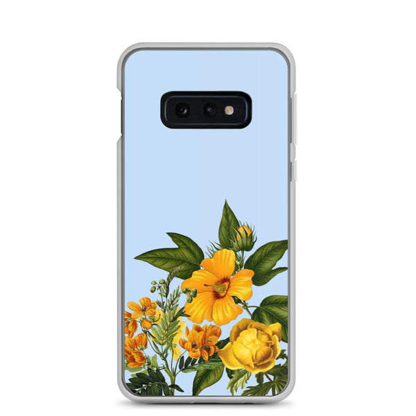 samsung case with blue background and yellow flowers at bottom