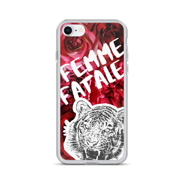 iPhone case with tiger and phrase femme fatale on rose background