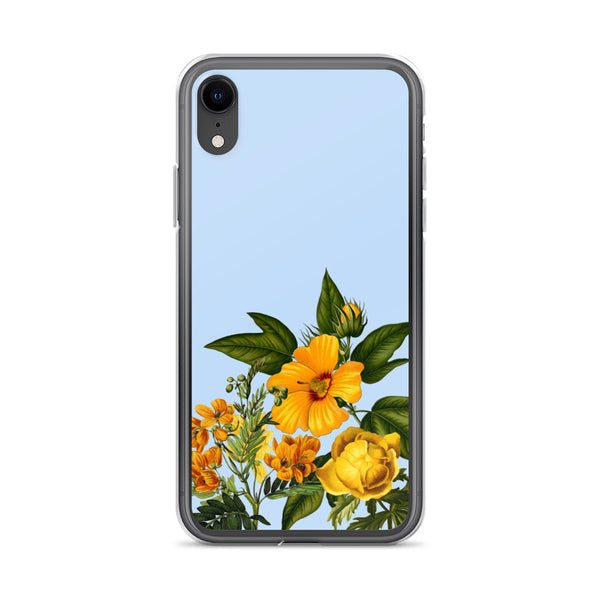 iphone case with blue background and yellow flowers at bottom