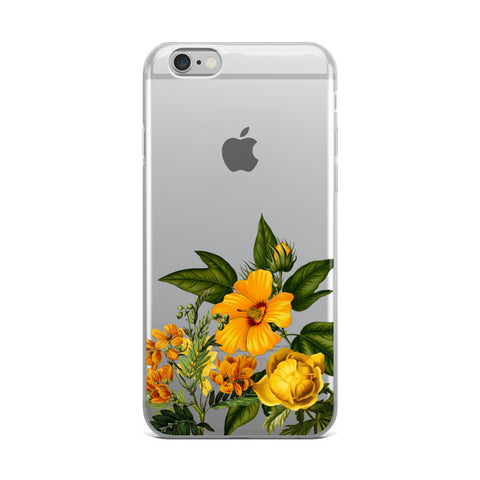 transparent iphone case with yellow flowers at bottom