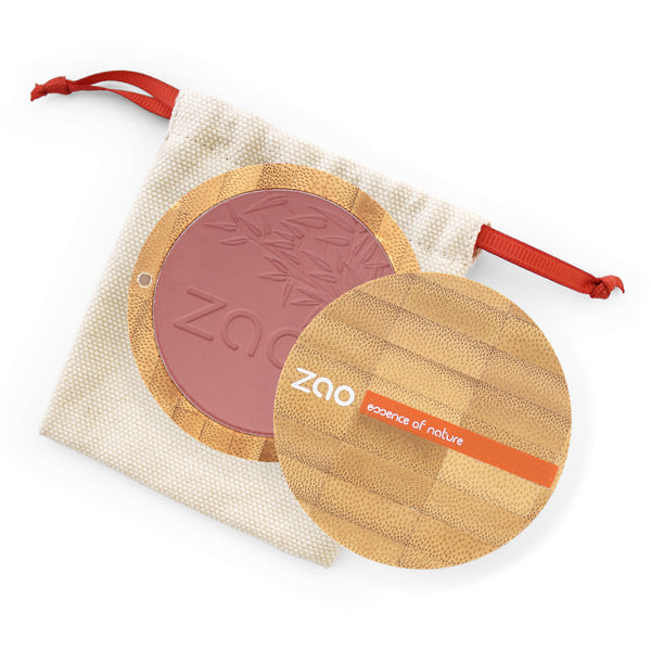 Compact Blush von Zao in Brown Pink im Bambus Case