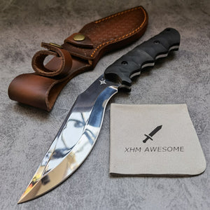 Fixed Blade Knife Kukri Mirror Polished Full Tang 9Cr18Mov Steel Hunting Outdoor