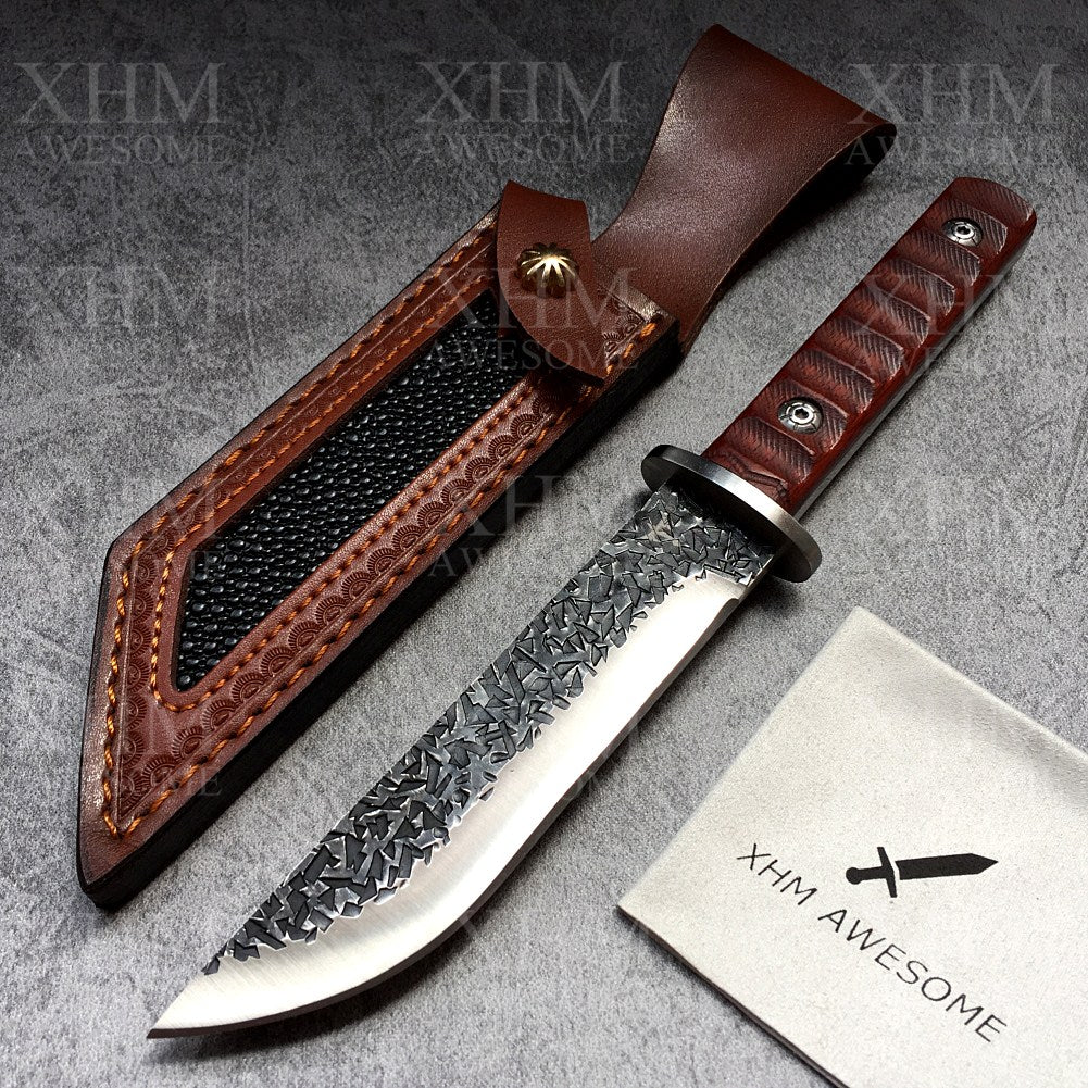 9.65'' Fixed Blade Hunting Knife Outdoor Survival Tactical Knives Forged Blade