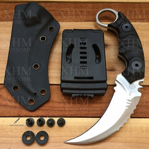 XHM Tactical Karambit Knife Fixed Blade Heavy Duty D2 Blade Outdoor Hunting Skinner Knifes Hawkbill CSGO Claw Knives