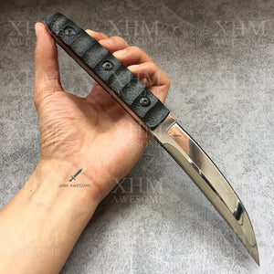 XHM 9.6'' Fixed Blade Knife Tactical Tanto Hunting Katana Bayonet Ninja Knives