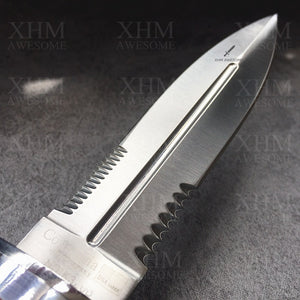 XHM Tactical Dagger Knife Wood Handle Double Edged Military Rescue Knives Self Defense Sword Bayonet