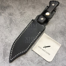 Load image into Gallery viewer, XHM Awesome Bowie Knife Fixed Blade Serrated Edge, Full Tang, Black Wooden Handle, Leather Sheath, for Hunting, Outdoor Surival, Tactical (Black Blade)