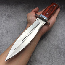 Load image into Gallery viewer, XHM Tactical Dagger Knife Wood Handle Double Edged Military Rescue Knives Self Defense Sword Bayonet
