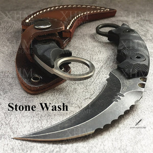 XHM Heavy Duty Tactical Fixed Blade Karambit Knife D2 Blade  Hunting Skinner Hawkbill CSGO Claw Knives