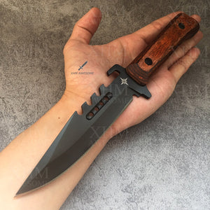 XHM Tactical Dagger Knife Wood Handle Hunting Combat Fixed Blade Knives Outdoor Military