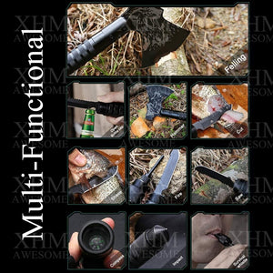 XHM Survival Axe Outdoor Camping Hatchet Tool Chopping Tomahawk Multi-function Hammer Firewood Tactical Equipment