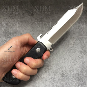 XHM Awesome Bowie Knife Fixed Blade Serrated Edge, Full Tang, Black Wooden Handle, Leather Sheath, for Hunting, Outdoor Surival, Tactical (Silver Blade)