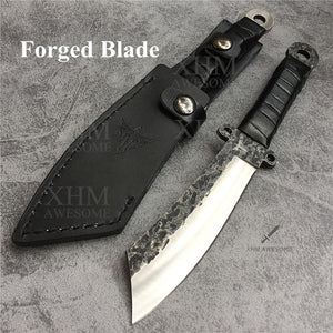 Fixed Blade Hunting Knife with Leather Sheath for Outdoor Survival Tactical Knives Hand Forged Knifes